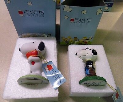 (2) Westland Peanuts Collection Snoopy with Heart and Joe Cool Figurines
