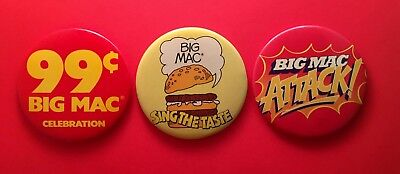 "3 McDonald's Big Mac 3 1/2"" Pinback Buttons"