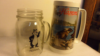 "TWO EACH HAMM's STEINS GLASS MASON JAR BEAR & PLASTIC REAL BEAR LAKE 5""&6"""