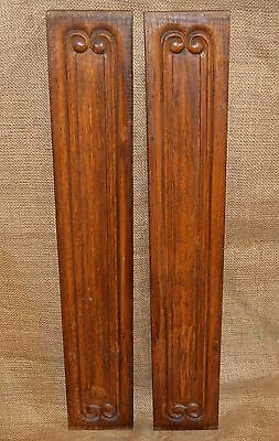 Antique English Pair Carved Wood Architectural Panels Pediments Double Sided