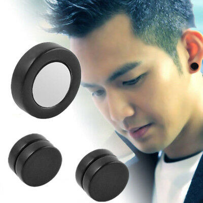 Hot Fashion Round Magnetic Clip On Ear Stud Earrings No Piercing Mens Women Goth