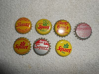 Squirt Soda Bottle Caps--Lot of 7