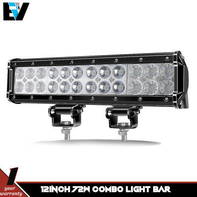 72W 12'' LED Work Light Bar Offroad Grille 4x4 Boat Truck Bumper 4WD ATV ForJeep