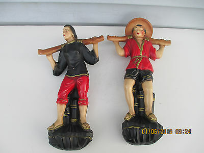 2 Vintage Chalkware Wall Plaque Hanging Figures Asian Man & Woman
