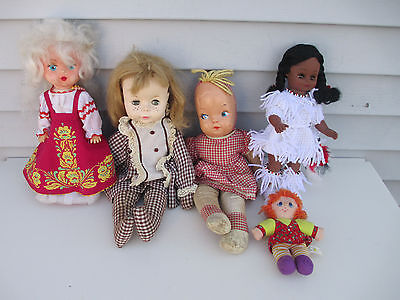 Lot of 5 Vintage Dolls 1961 Effanbee Russian African American HK City Toys