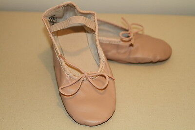 New Girl's Pink Leather Ballet Slipper Dance Shoes size 1