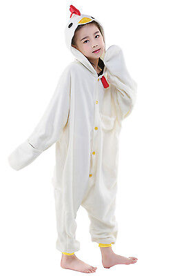 Unisex Kids Pajamas Kigurumi Cosplay Costume Animal Sleepwear(White chicken 115)