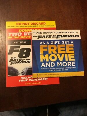 The Fate Of The Furious Digital HD Copy+Free Movie ONLY