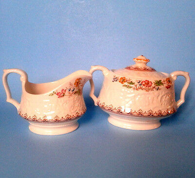 BOOTHS CORINTHIAN WILD ROSE EMBOSSED CREAMER AND SUGAR BOWL Rare Antique