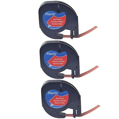 US STOCK 2PK Black on Red Plastic Label Tape for DYMO Letra Tag LT 91333 12mm