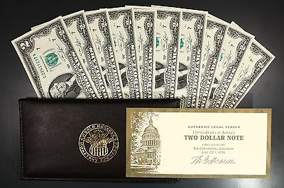 1976 $2.00 Bills Crisp Uncirculated 10 in Sequence SN Federal Reserve Note Lot