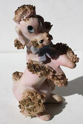 Vintage Hand Painted Pink Spaghetti Poodle with Blue Bow and Blue Eyes-Porcelain