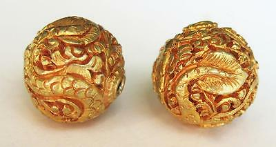 2 Tibetan Nepalese Gold Plated Copper Beads Dragons 17mm
