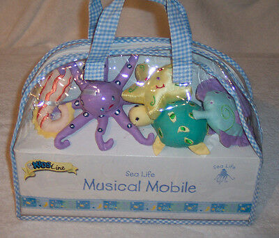 KIDS LINE Sea Life Musical Mobile Brahms Lullaby Pastel Fabric - New