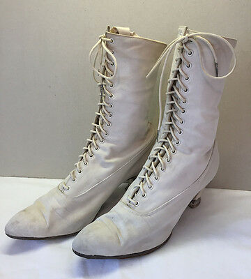 White Early 1900's Nurse's Duty Shoes Victorian Lace up Canvas