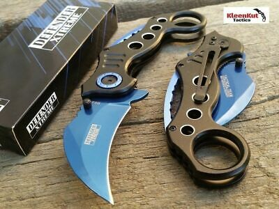 NEW Spring Assisted BLACK BLUE KARAMBIT Folding Knife CLAW TACTICAL Finger Hole