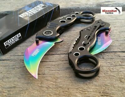 Spring Assisted BLACK RAINBOW KARAMBIT Folding Knife CLAW TACTICAL Finger Hole
