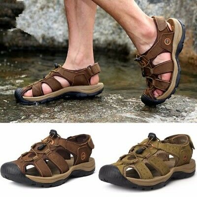 Summer Men Casual Beach Sandals Genuine Leather Walking Sport Closed Toe Shoes