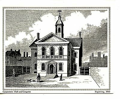 Carpenters Hall-Philadelphia-1840 Repro-Engraving Greeting Vintage Note Card