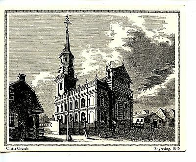 Christ Church-Philadelphia-1840 Repro-Engraving Greeting Vintage Note Card
