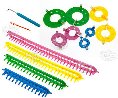 12tlg Strickring + Strickrahmen Set Knitting Strickliesel Loom für Pompom Maker