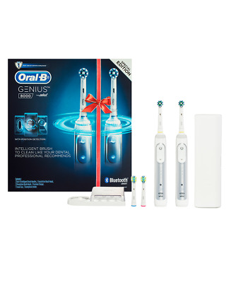 New Oral B Oral B Genius 8000 Electric Toothbrush 2 Handle Pack Incl. 4 Brush He
