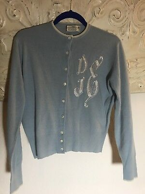 Vintage 50's Bernhard Altmann Baby Blue  Cashmere Sweater with Beading