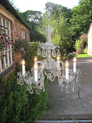 Finest Quality  French Antique Large 6 Branch Chandelier Lead Crystal Drops 3958
