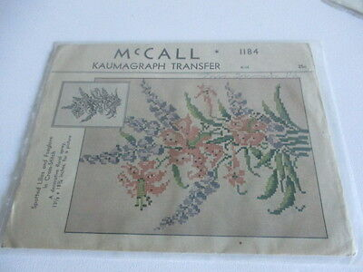 Vintage McCall Kaumagraph Transfer #1184 Spotted Lilly & Foxglove in Cross-Stich