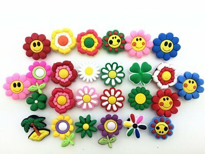 26pcs Cute Small Flower Shoe Charms for Croc Shoes & Wristband Party Gifts