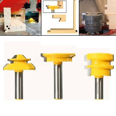 3Pcs Jointing Router Bit Set 1/2 Handle Lock Miter + Glue Joint + Drawer Front