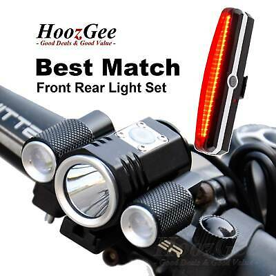 Bright CREE T6 LED Cycling Bike Bicycle Front Torches Head Rear Tail Lights Set