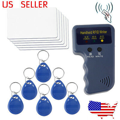 New Handheld RFID ID Card Copier/ Reader/Writer 6 Writable Tags/6 Cards @W