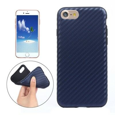 ELETTRONICA Dark Blue For  iPhone 8 & 7  Carbon Fiber Texture Soft PU  Protecti