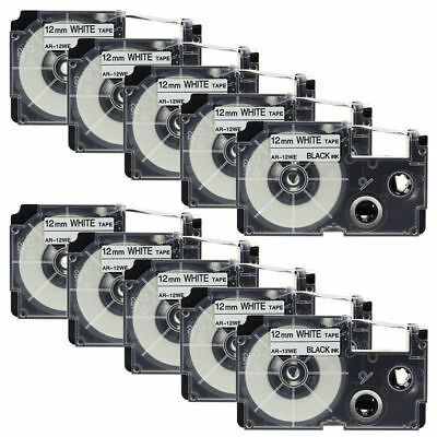 10PK XR-12WE1 Compatible for Casio Label Tapes Black on White 1/2'' KL100 KL750