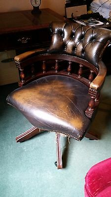 Captains Chair in brown Leather and Mahogany