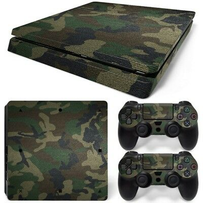 Skin Cover Decals Camouflage Camo Sticker + 2 Controller For PS4 Slim Console