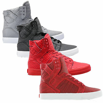 Supra Mens Skytop Lace Up Active Gym Sport Lo Top Black Grey Red White Trainer