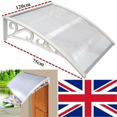 White Door Canopy Awning Rain Sun Shelter Front Back Porch Outdoor Patio120*75cm