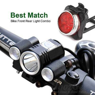USB Rechargeable Cycling Bike Bicycle T6 LED Front Rear Light Set With Battery