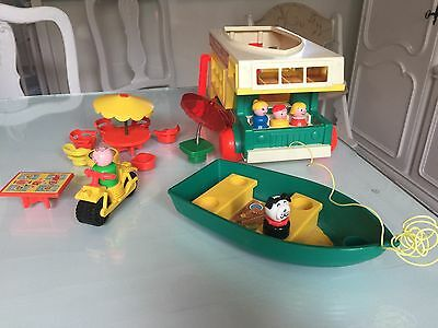 1972 Fisher-Price Little People Play Wohnmobil Family Camper 994 Boot Motorrad