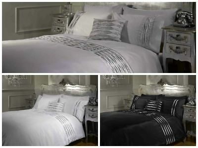 Crystal Diamante Pintuck Detail White Black Silver Duvet Quilt Cover Bedding