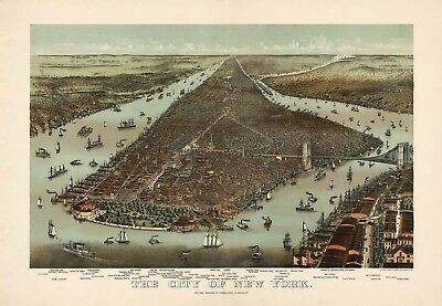 Map Aerial Birds Eye View New York City 1892 Large Wall Art Print Poster Lf2559