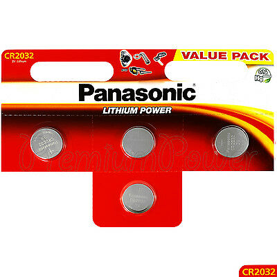 4 x Panasonic CR2032 batteries Lithium Power 3V Coin Cell DL2032 BR2032 EXP:2027