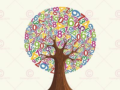 ART PRINT PAINTING DRAWING ABSTRACT TREE DESIGN ALPHABET LEAVES LFMP0920