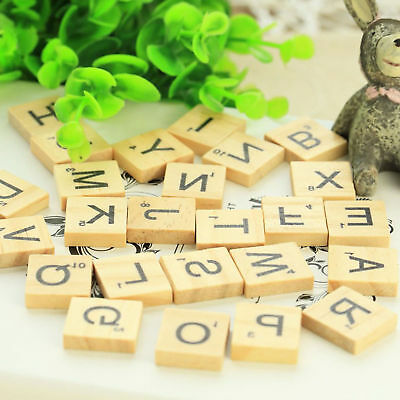 100 Wooden Scrabble Tiles Black Letters Numbers For Crafts Alphabets Toy