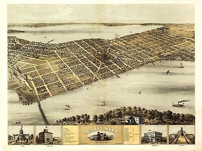 Map Madison Wisconsin 1867 Vintage Large Wall Art Print Poster Picture Lf2007