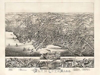 Map Plymouth Mass 1882 Vintage Large Wall Art Print Poster Picture Lf2016