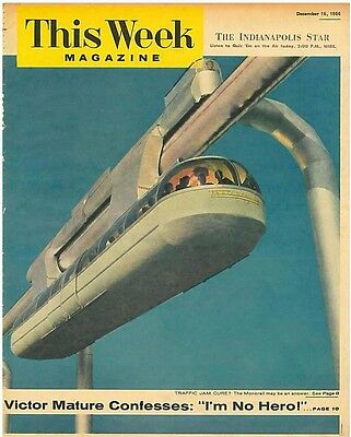 This Week Magazine December 16 1956 Traffic Jam Cure - Monorail may be answer.