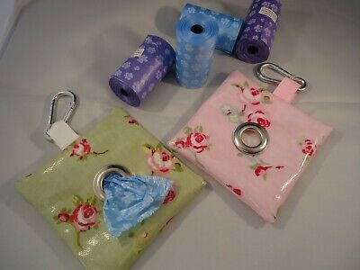 Pretty Floral Oilcloth- Dog Poop/ Poo/ Pooh Bag Holder/ Dispenser- Showerproof